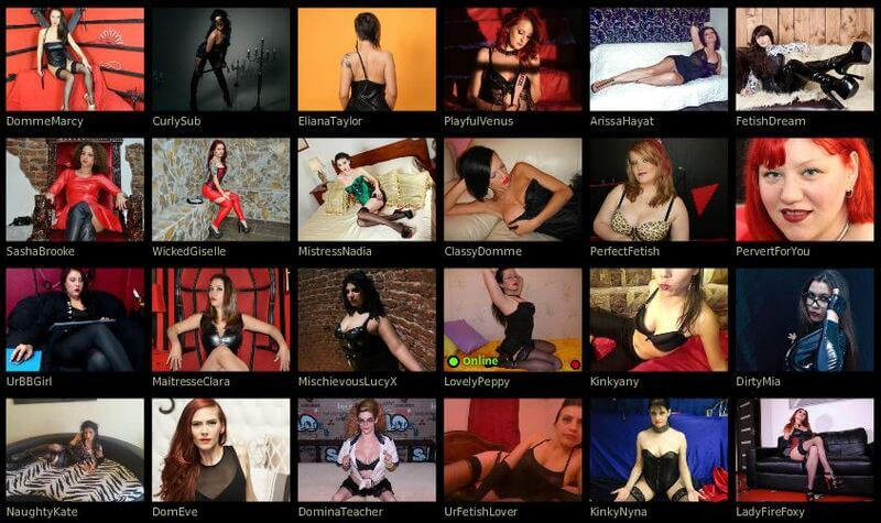 Choose from a variety of fetish cams