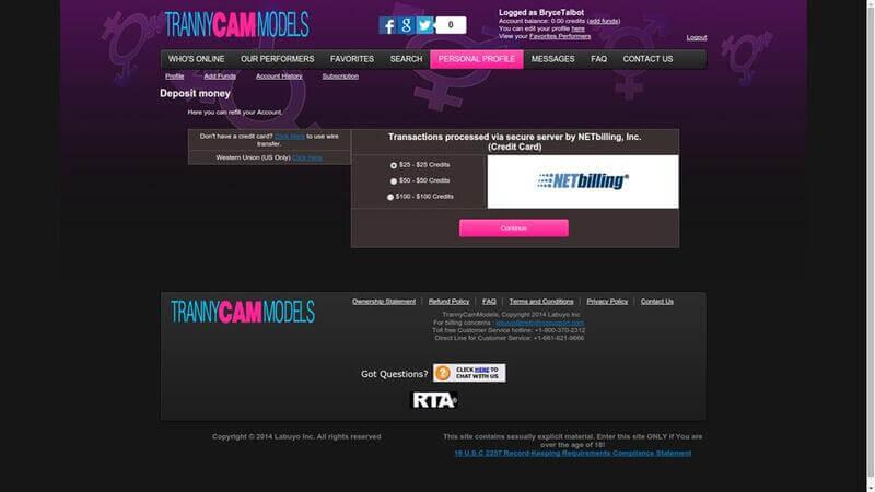 Payments at TrannyCamModels.com
