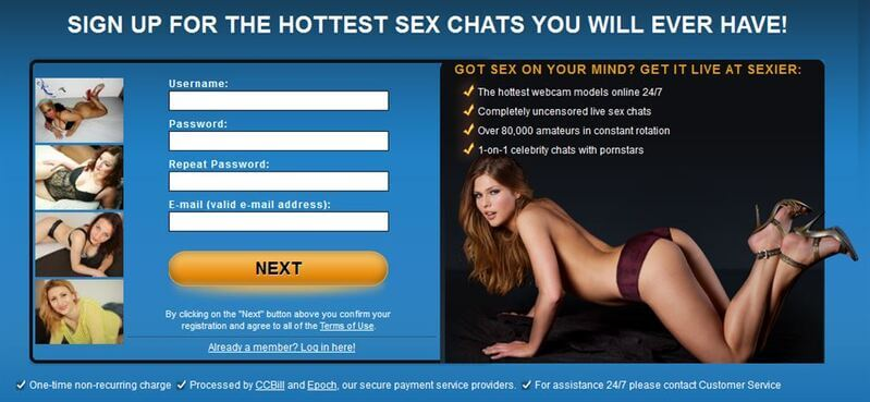 Register to Sexier in less than a minute