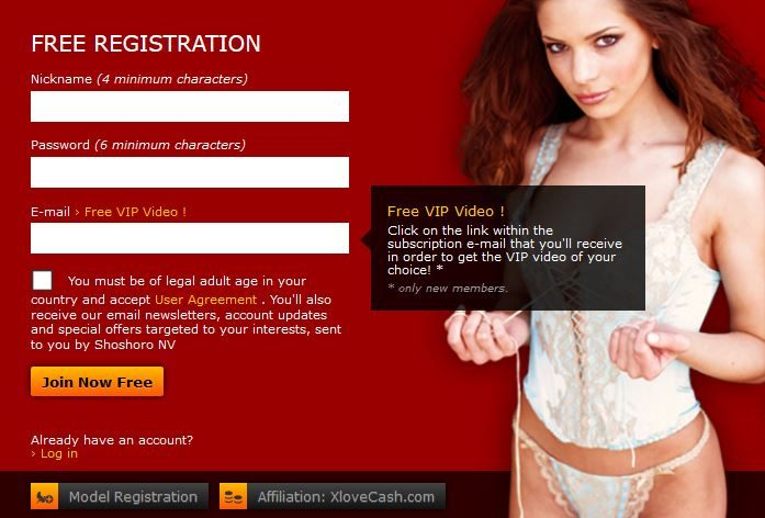 The registration page on XLoveCam.com