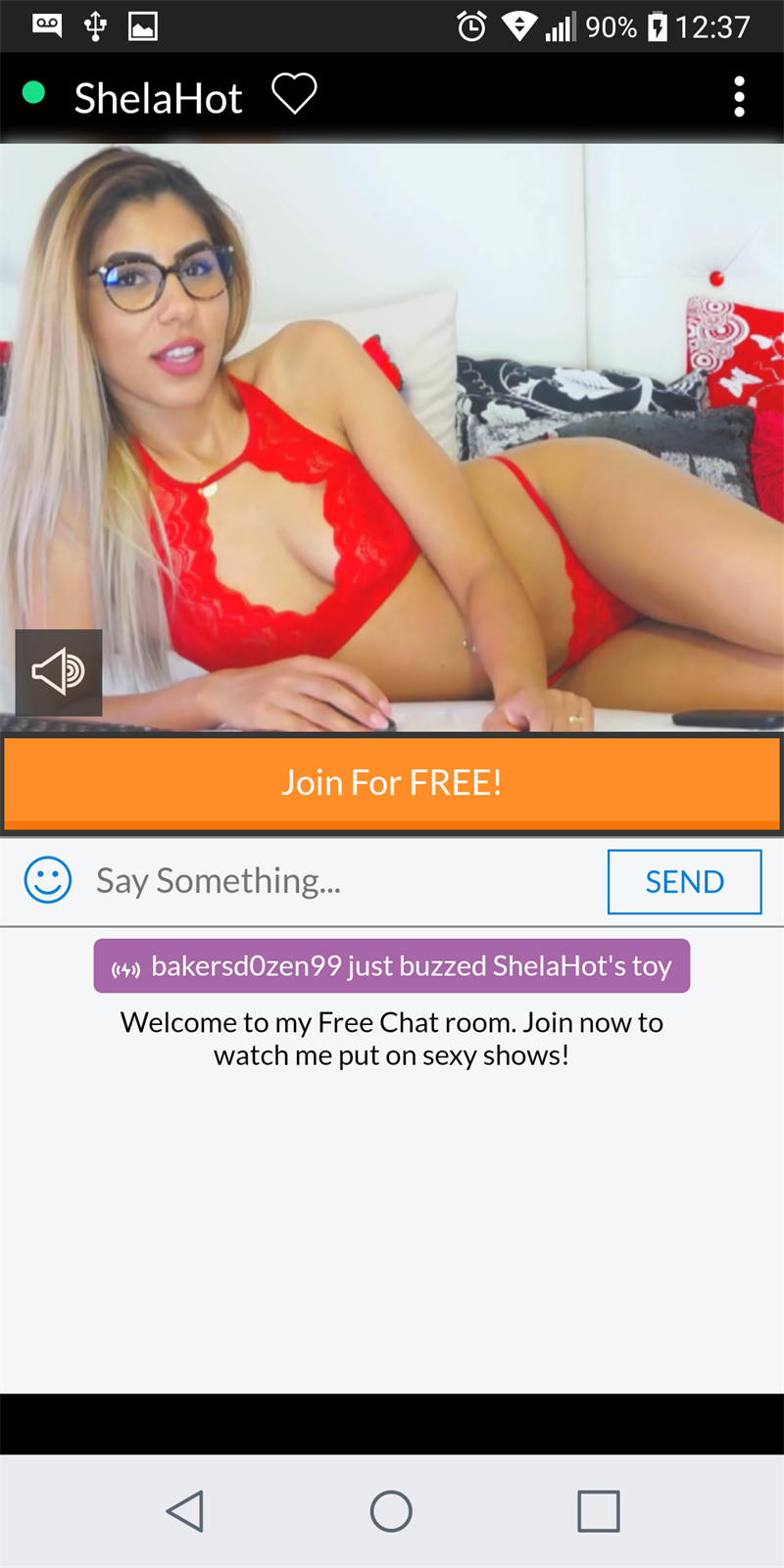 Sexy blonde babe dressed in red discovered on the Cams mobile platform