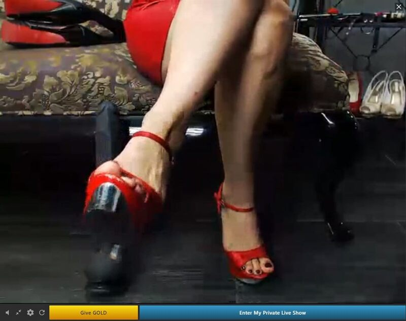 A Streamate.com webcam dominatrix showing off her heels.