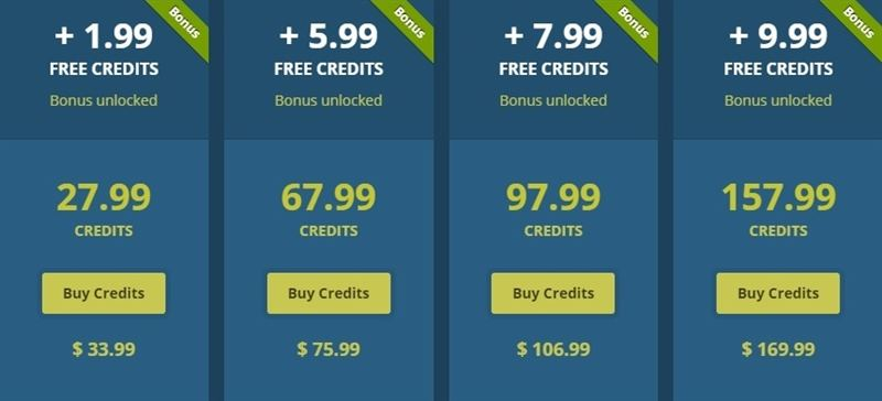 Credit packages for LivePrivates