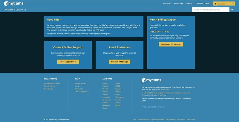 A screenshot of the MyCams support section.