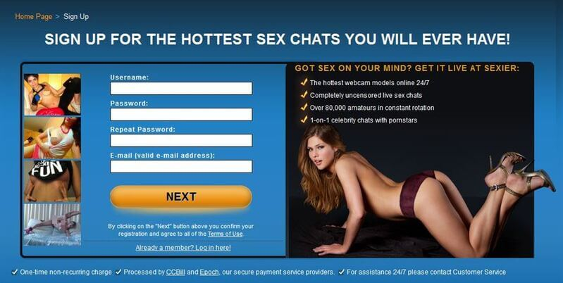 Signing up to Sexier.com